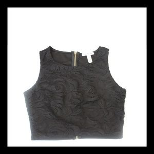 Ambiance Apparel Sleeveless Black Lace Crop Top